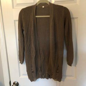 Distressed/frayed cardigan